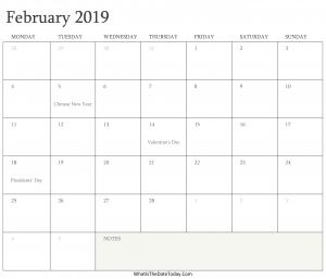 Editable February 2019 Calendar Printable
