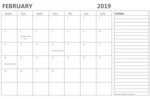 Editable February 2019 Calendar With Notes