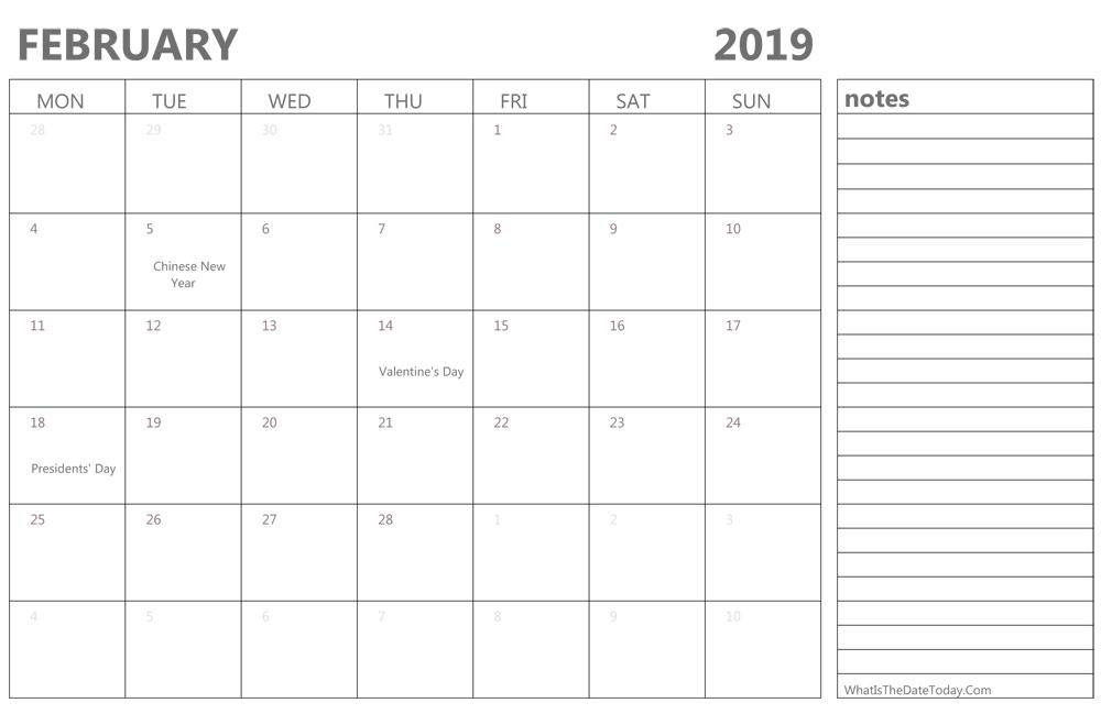 Editable February 2019 Calendar With Notes
