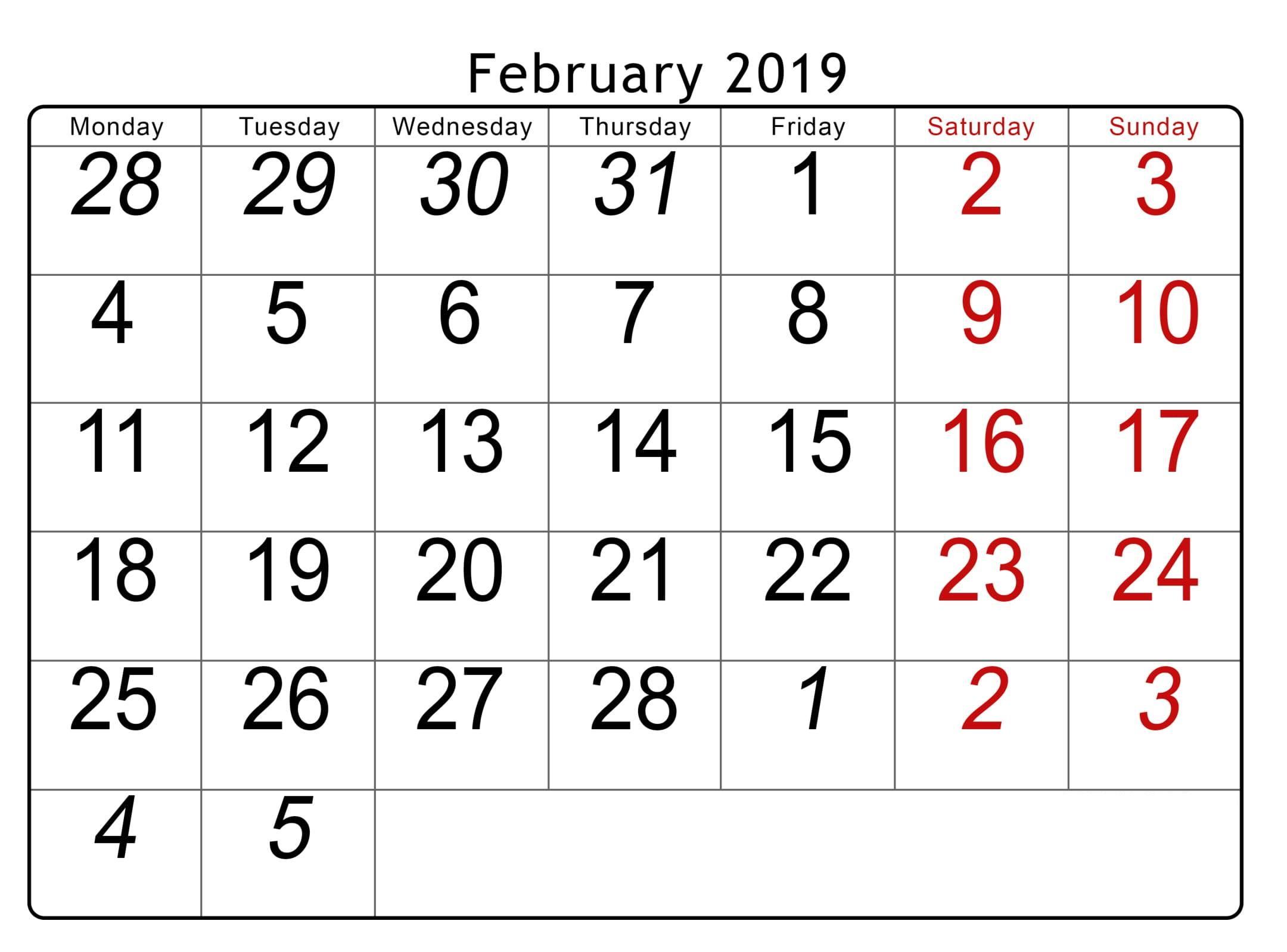 Editable February 2019 Calendar Word