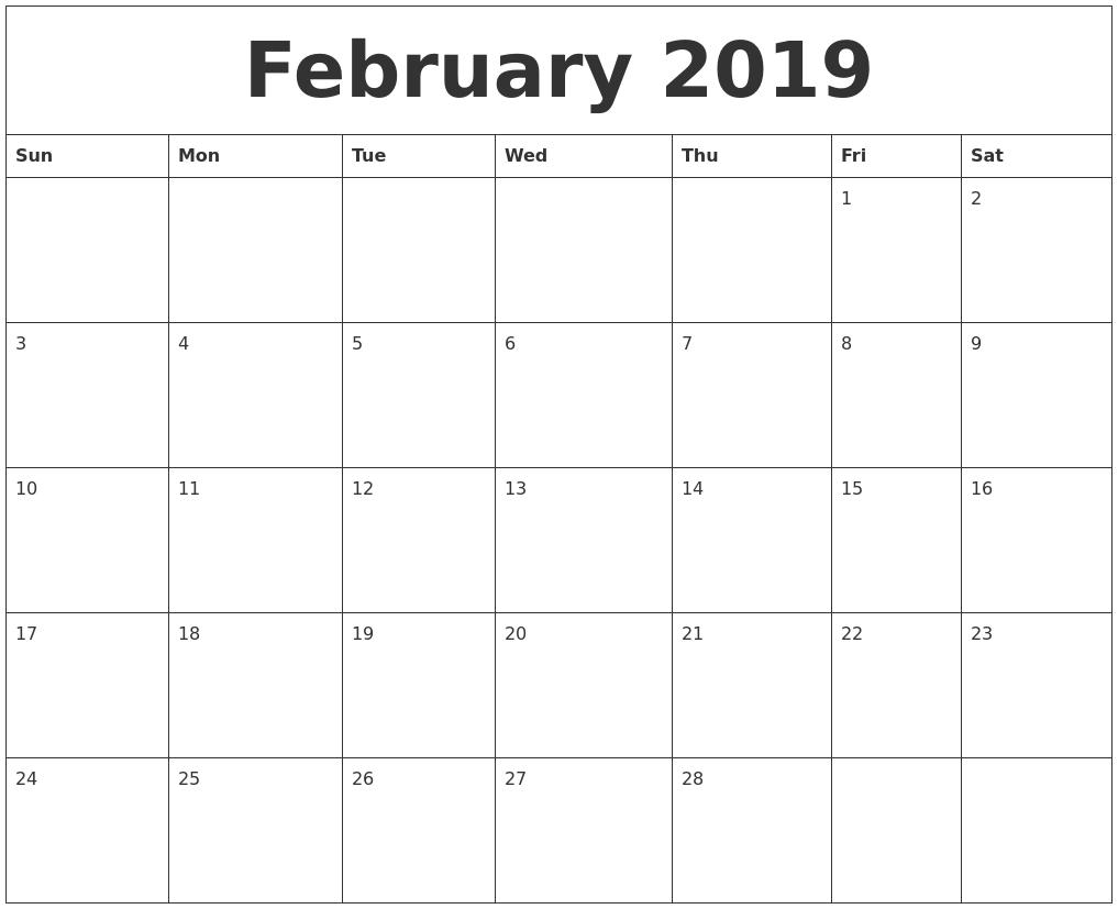 Editable February 2019 Calendar