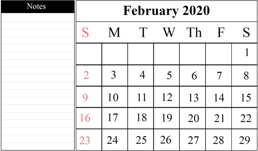 Editable February 2020 Calendar Blank Templates