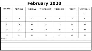 Editable February 2020 Calendar Excel