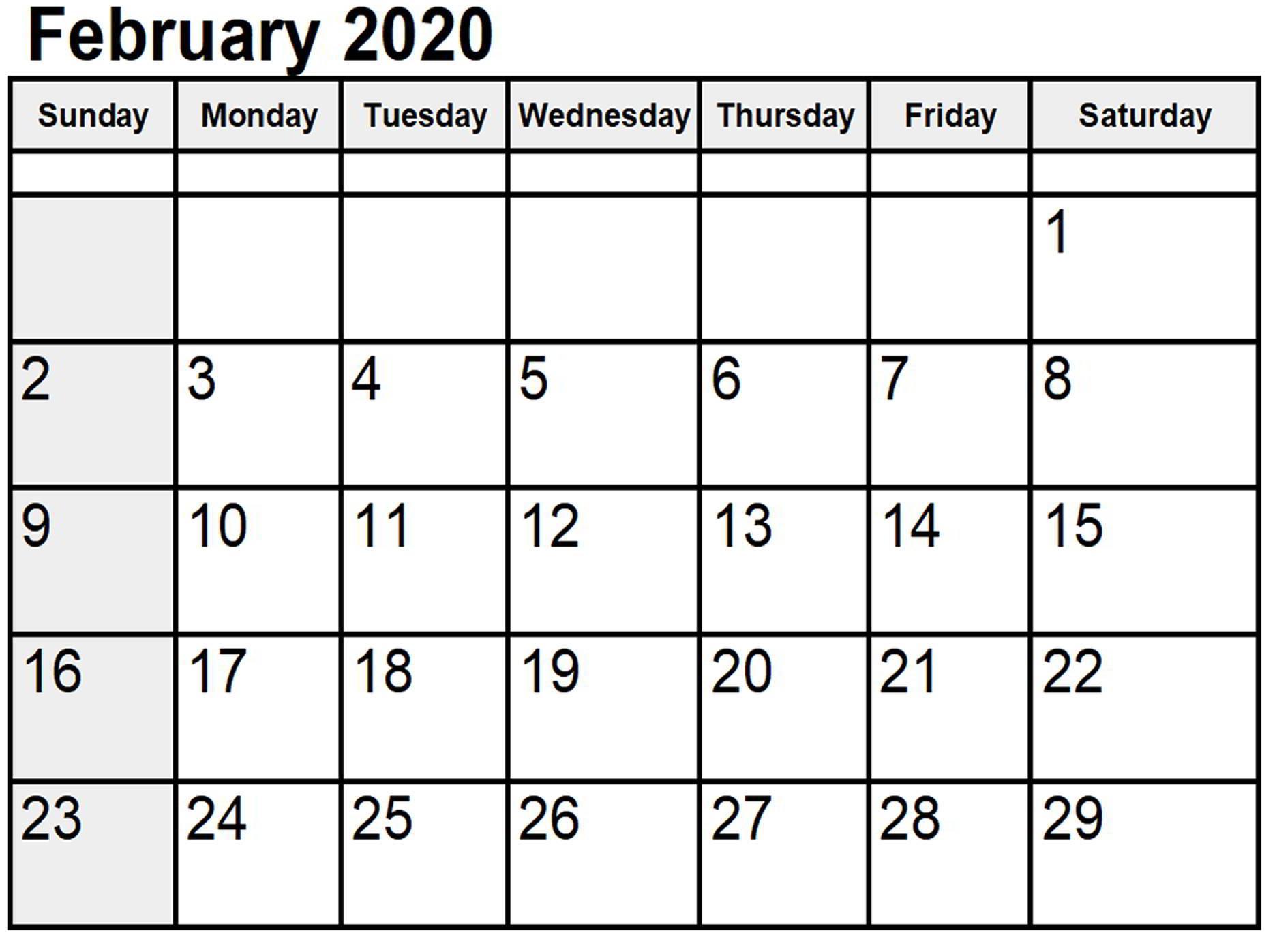 Editable February 2020 Calendar Word