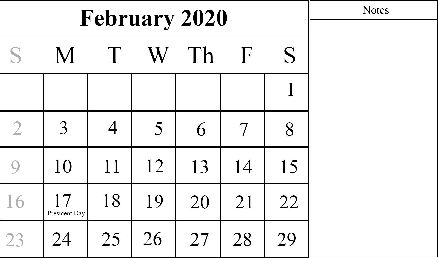 Editable February 2020 Calendar with Notes