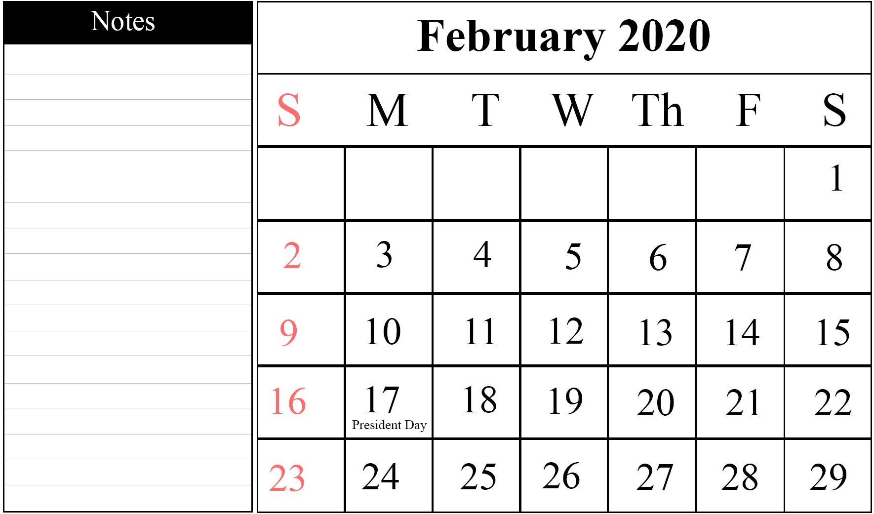 Editable February 2020 Calendar with Notes
