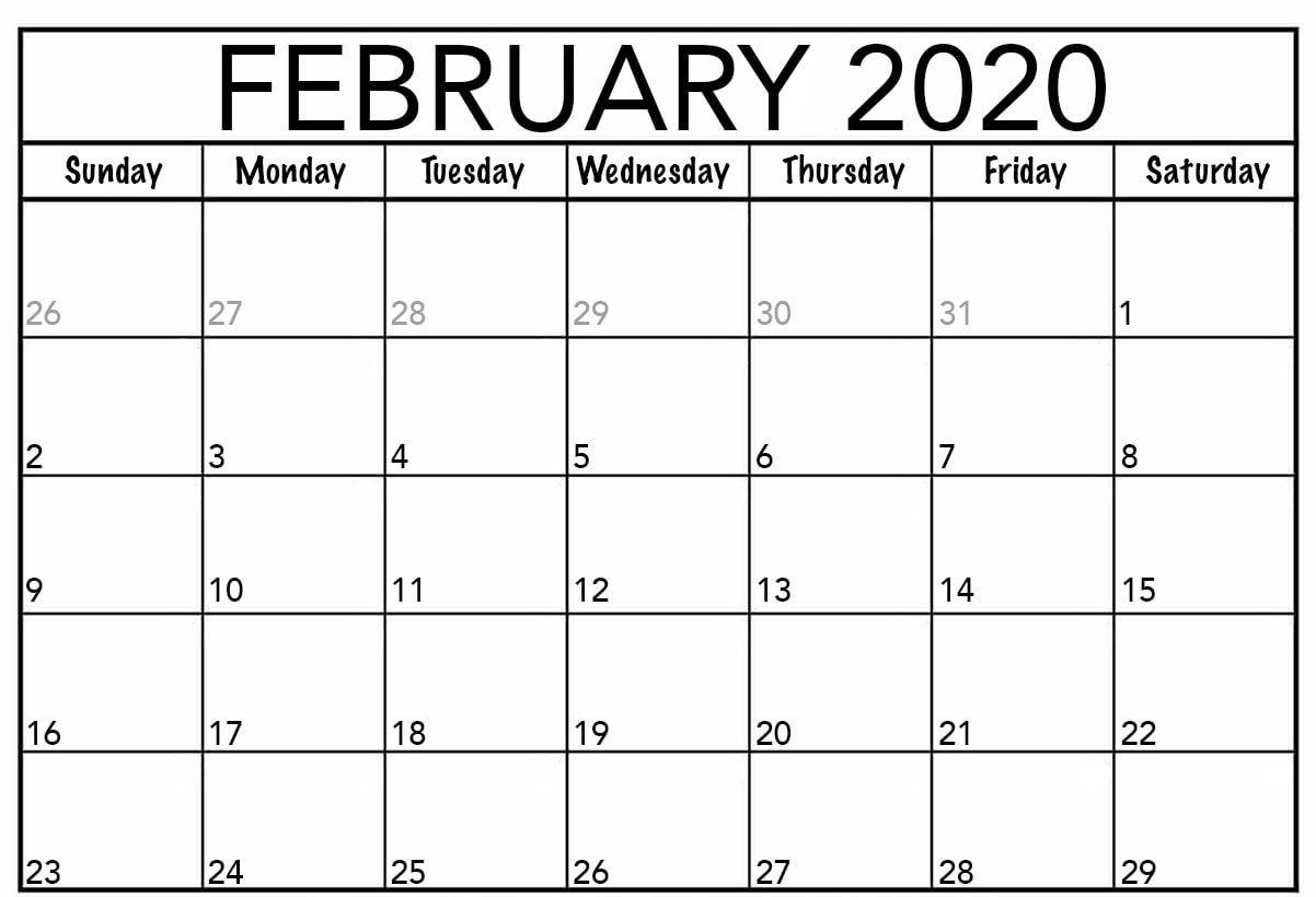 Editable February Calendar 2020