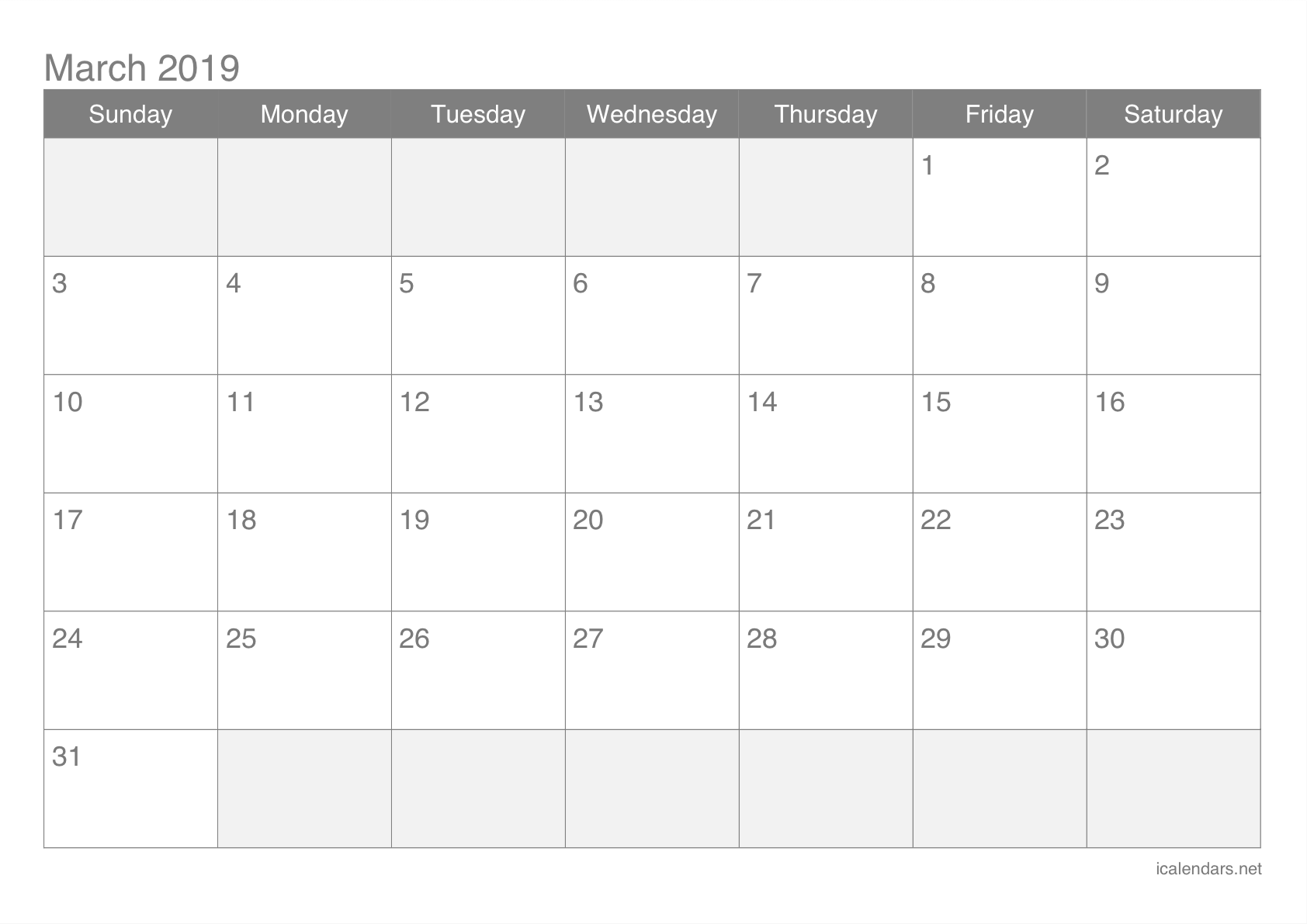 Editable March 2019 Printable Calendar Template