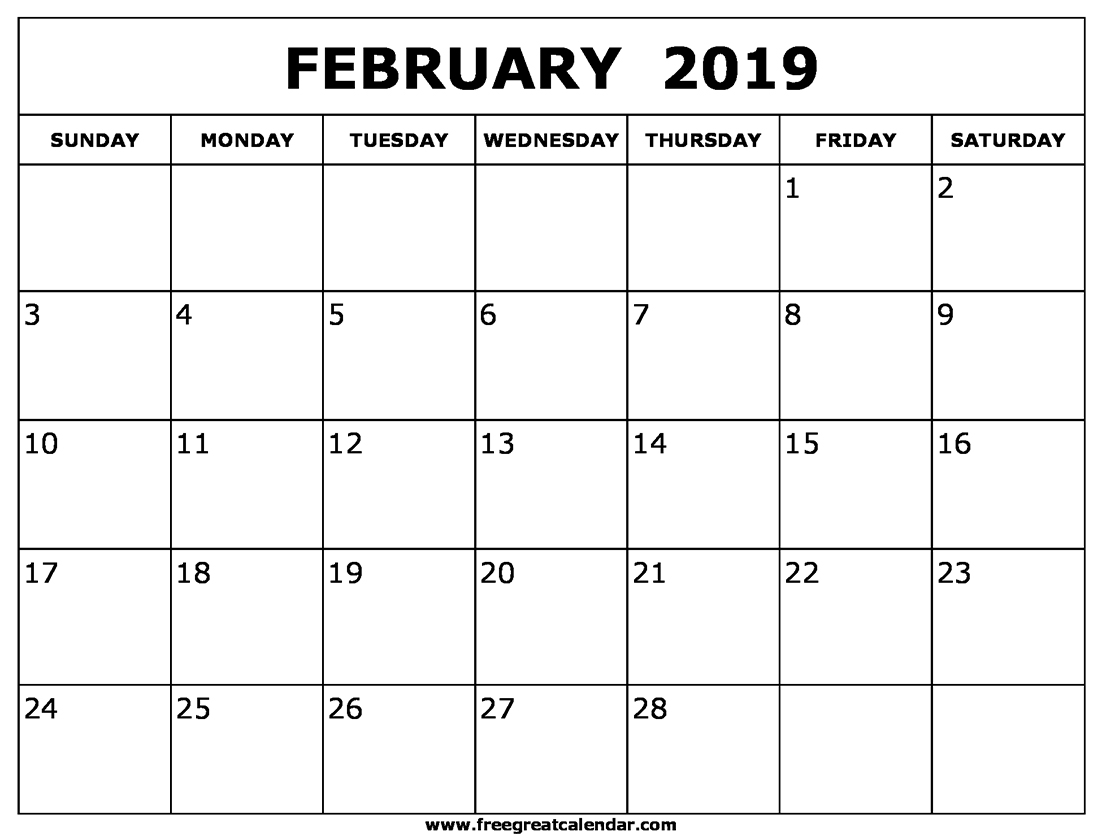 Feb 2019 Calendar Excel