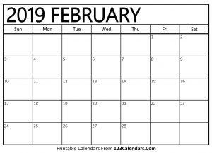 Feb 2019 Calendar Holidays