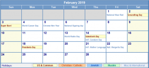 Feb 2019 Calendar Holidays printable