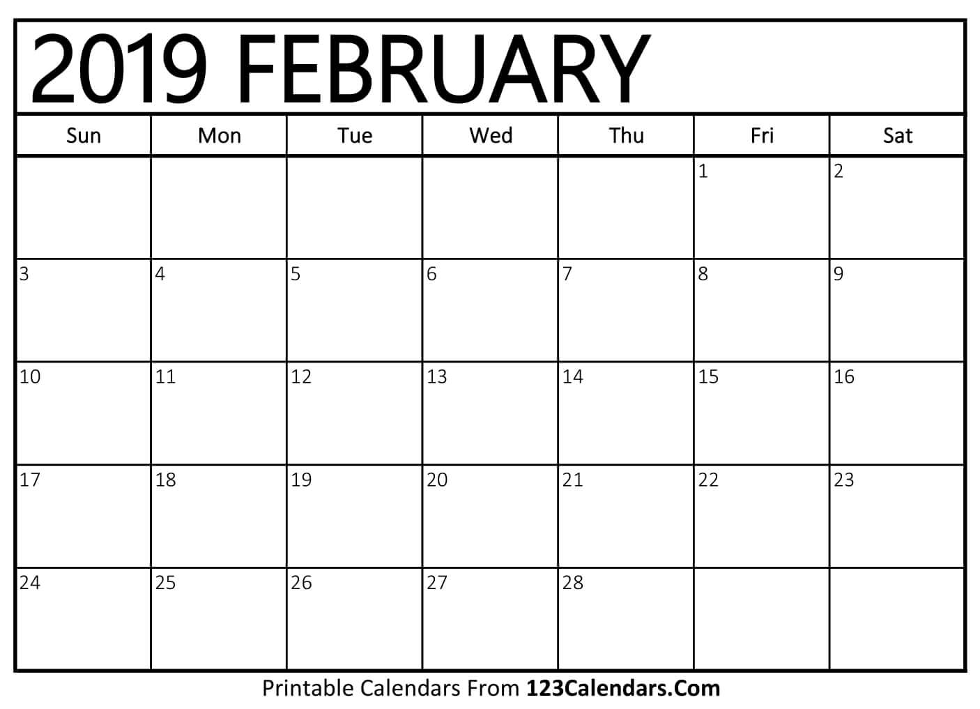 Feb 2019 Calendar Holidays