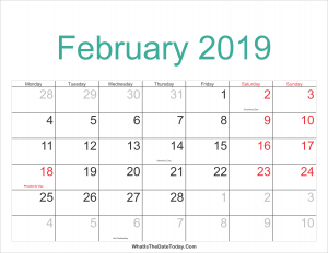 Feb 2019 Calendar Printable Holidays