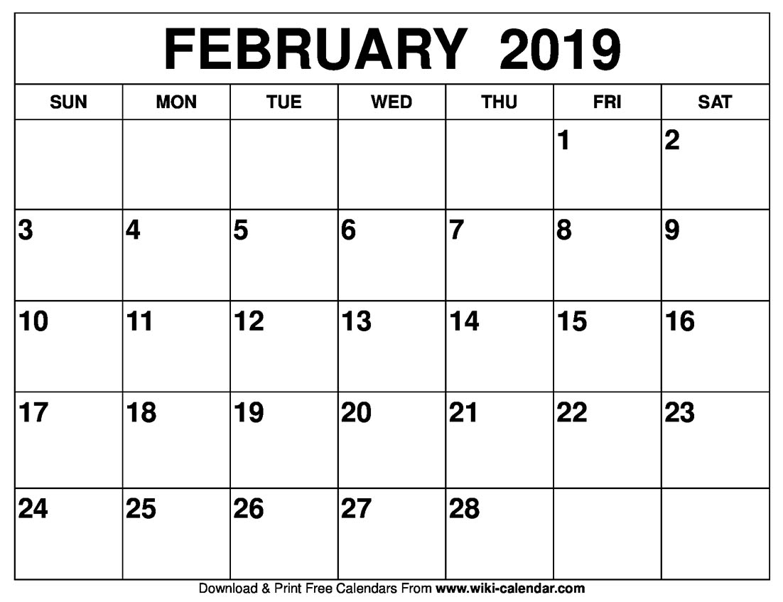 Calendar Feb 2019 Feb 2019 Calendar Printable   Free Printable Calendar Templates
