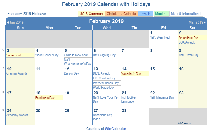 Feb 2019 Calendar With Holidays