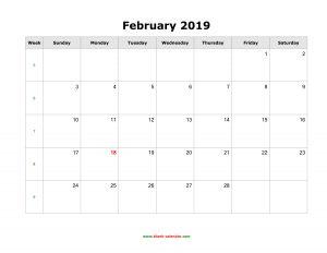 Feb 2019 Calendar Word