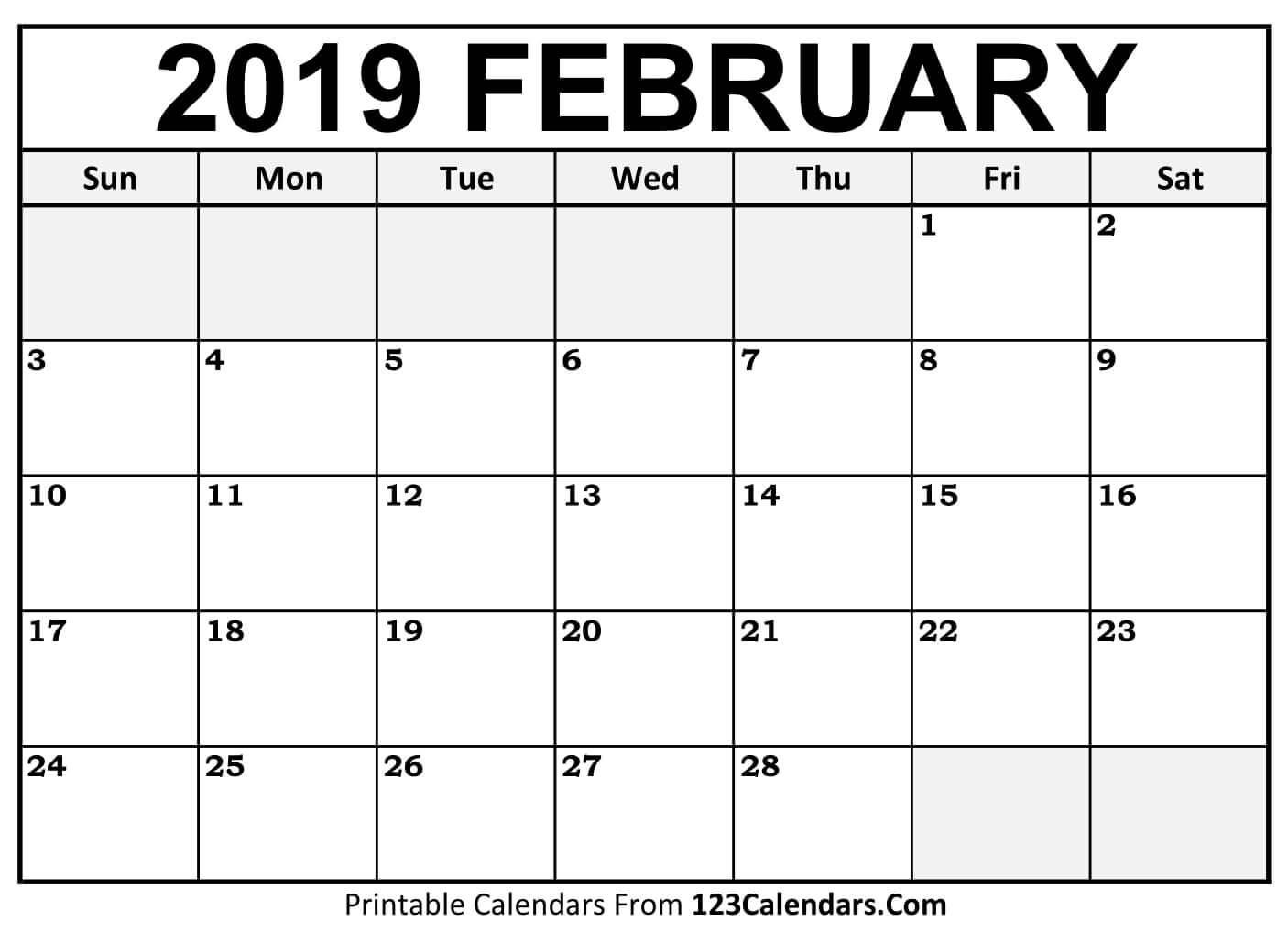 Feb 2019 Calendar