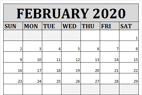 Feb 2020 Calendar PDF