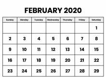 Feb 2020 Printable Calendar Template