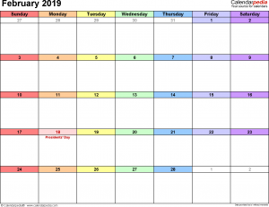 Feb Calendar 2019