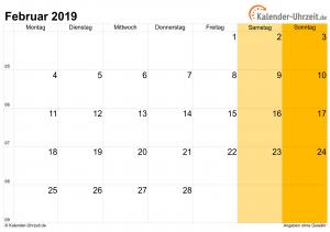 Februar 2019 Kalender Feiertagen Deutschland