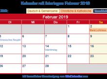 Februar 2019 Kalender mit Feiertagen Deutschland