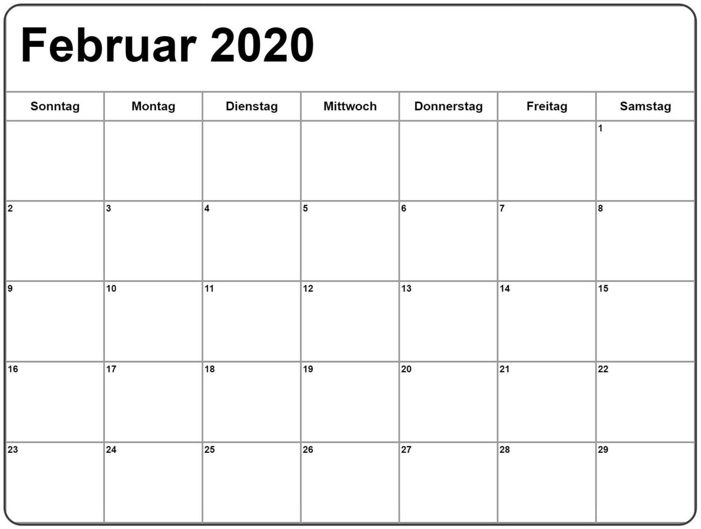 Februar 2020 Druckbarer Kalender