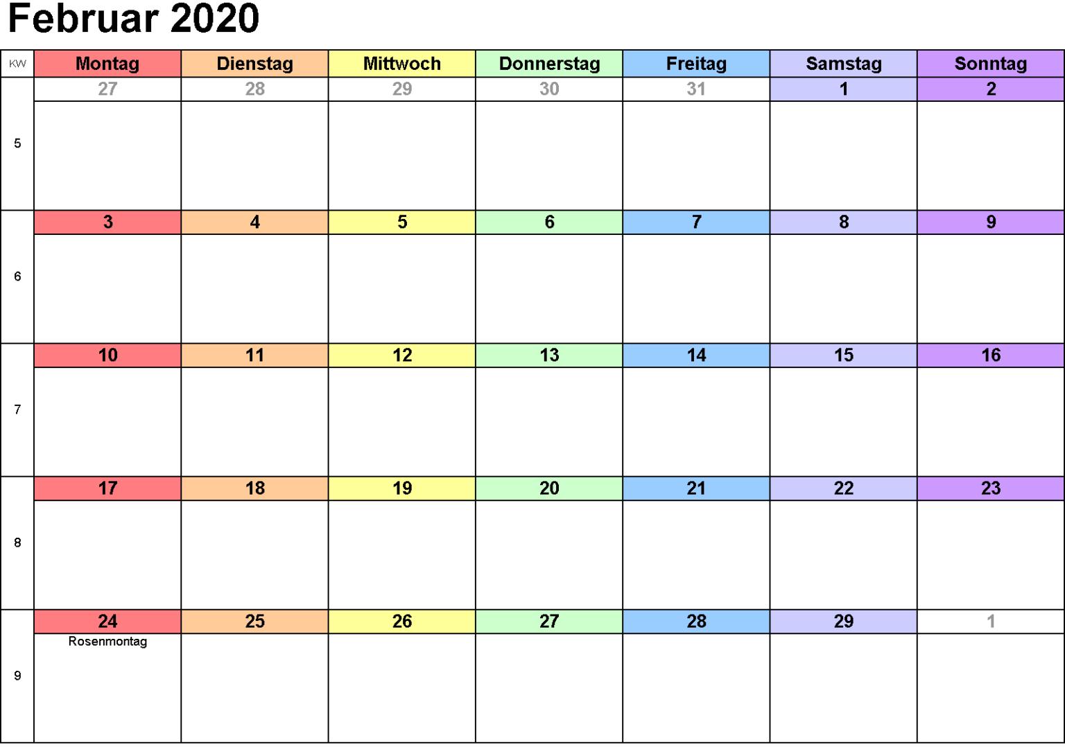 Februar A4 Kalender 2020