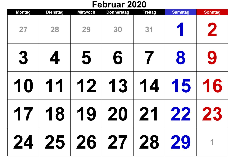 Februar Feiertags Kalender 2020