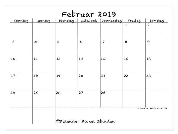 Februar Kalender 2019 Deutschland