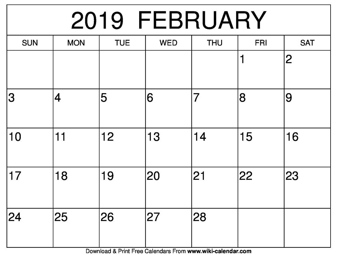 February 2019 Blank Calendar Template