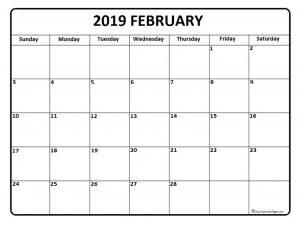 February 2019 Calendar Vertex