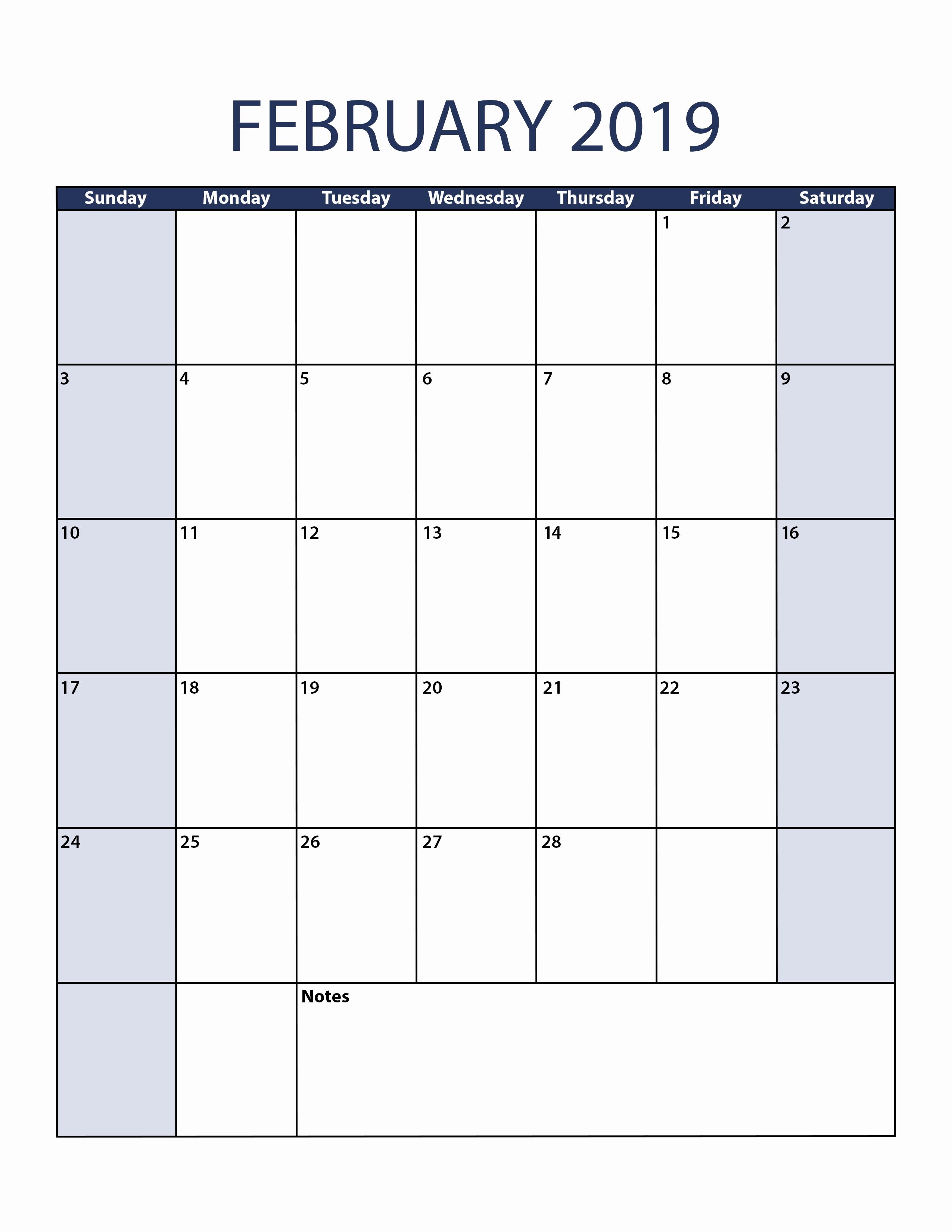 February 2019 Calendar Vertical