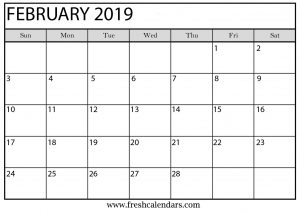February 2019 Calendar Word Template