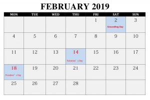 February 2019 Editable Calendar Printable With notes