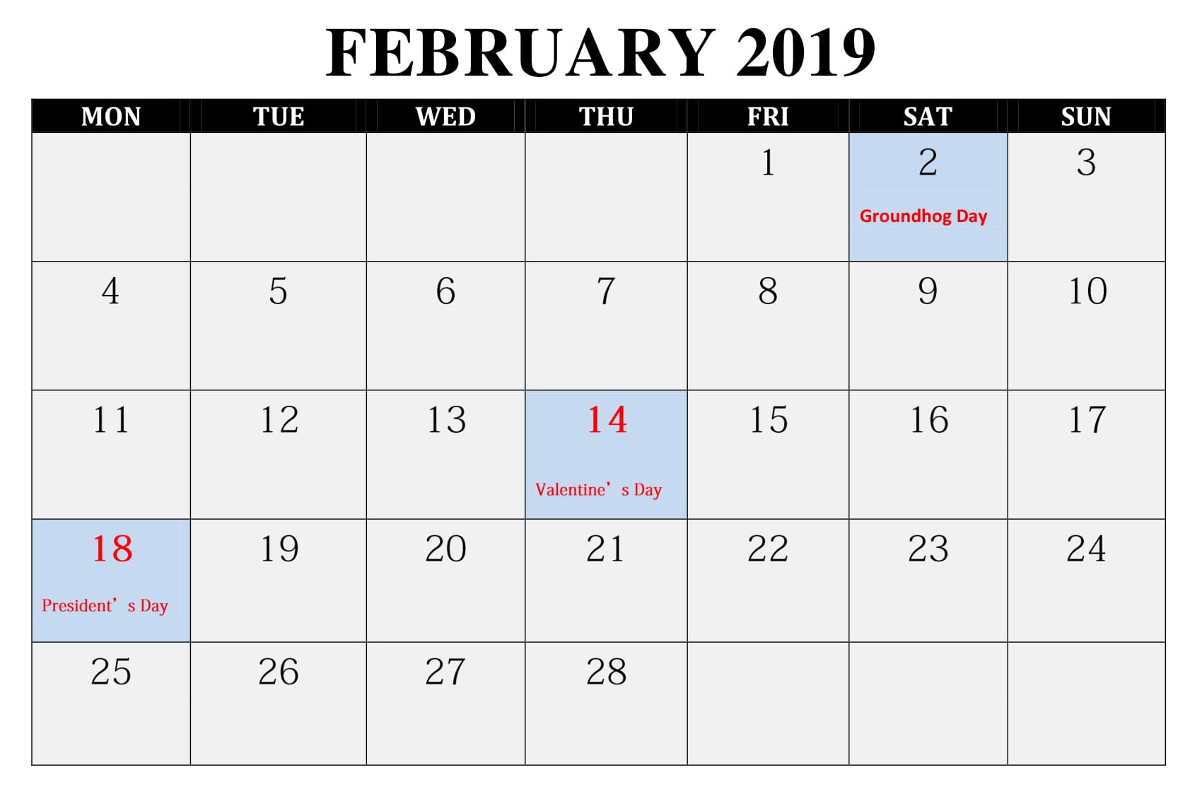 Calendar Feb 2019.Editable February 2019 Calendar Word Template In Portrait And Landscape