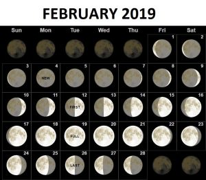 February 2019 Moon Phases Calendar