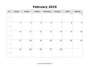 February 2019 Printable Calendar Template