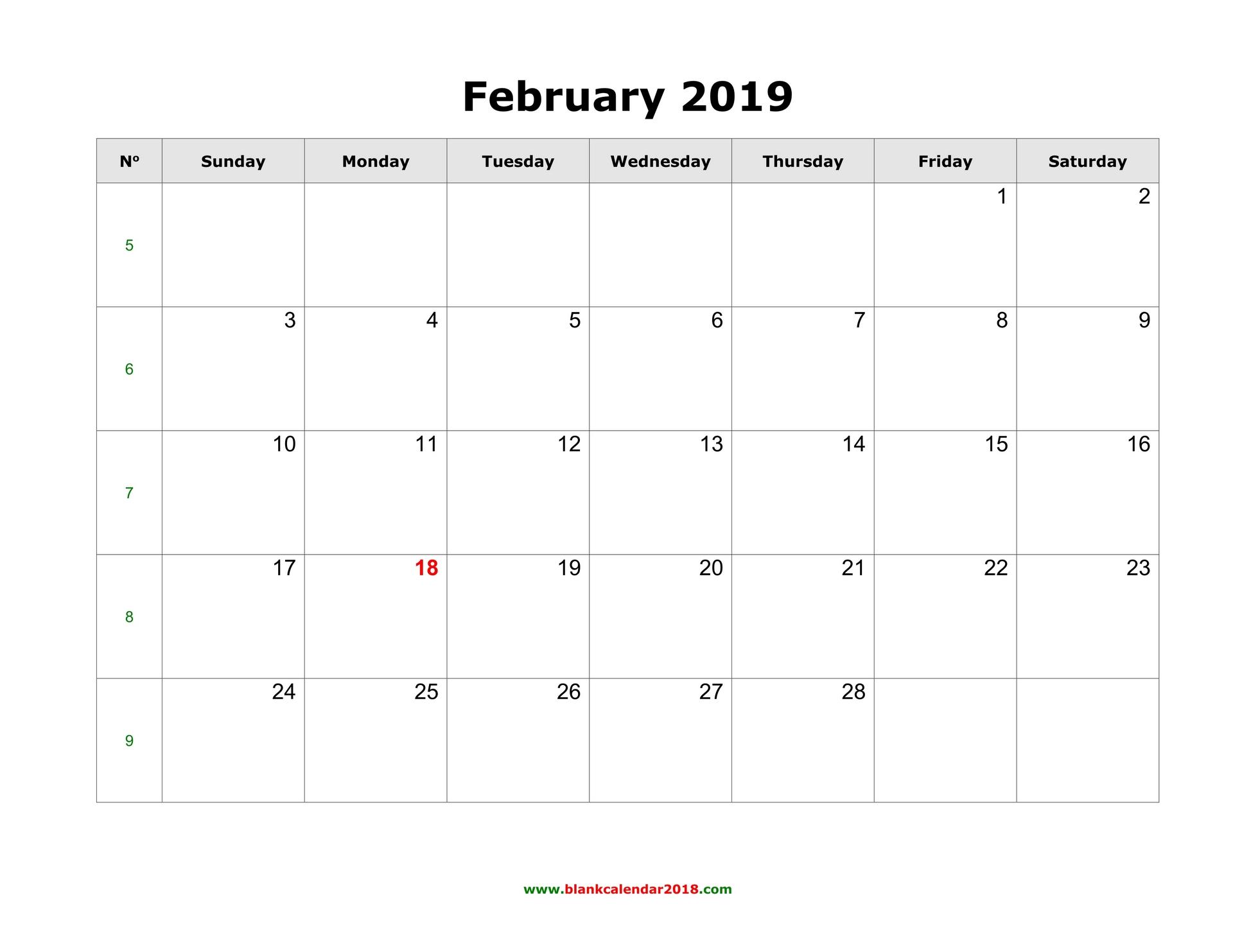 February 2019 Printable Calendar Template Free Printable Calendar