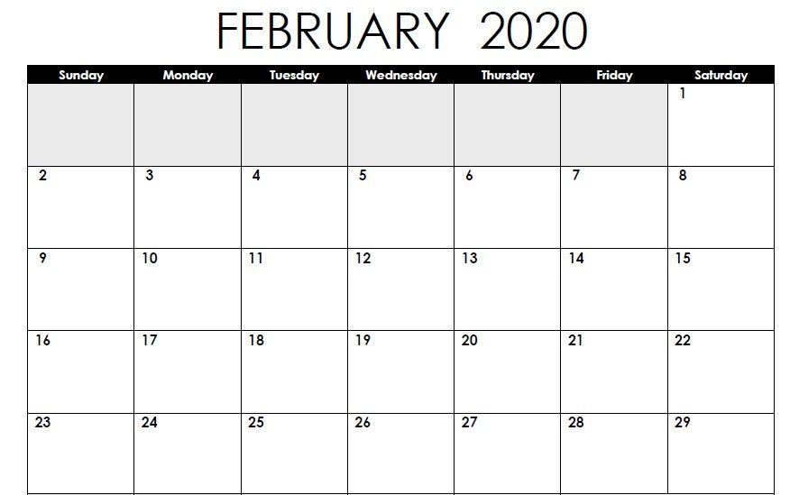 February 2020 Calendar Editable
