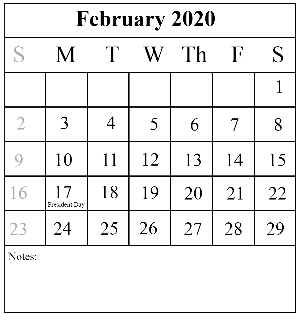 February 2020 Calendar Template Excel