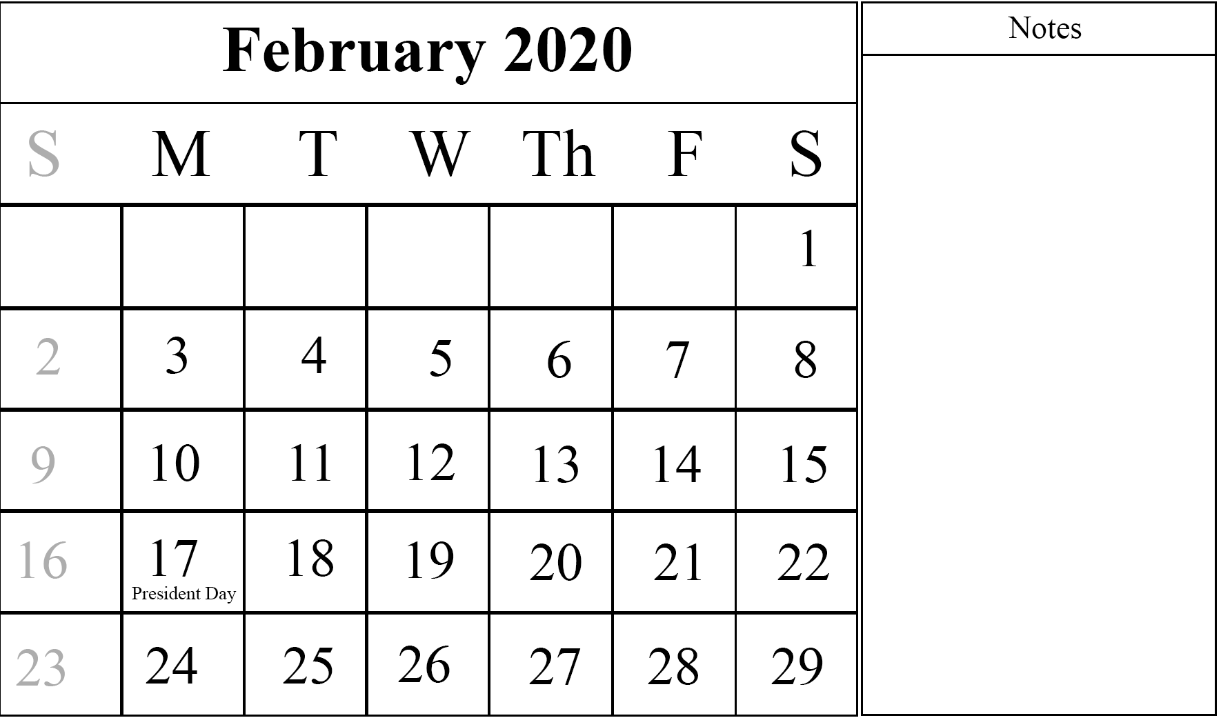 February 2020 Calendar with Notes