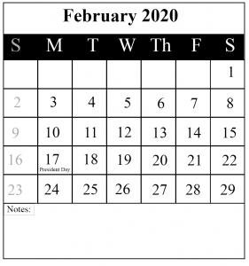 February 2020 Fillable Calendar
