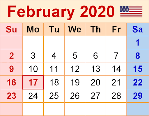 February 2020 USA Calendar with Holidays