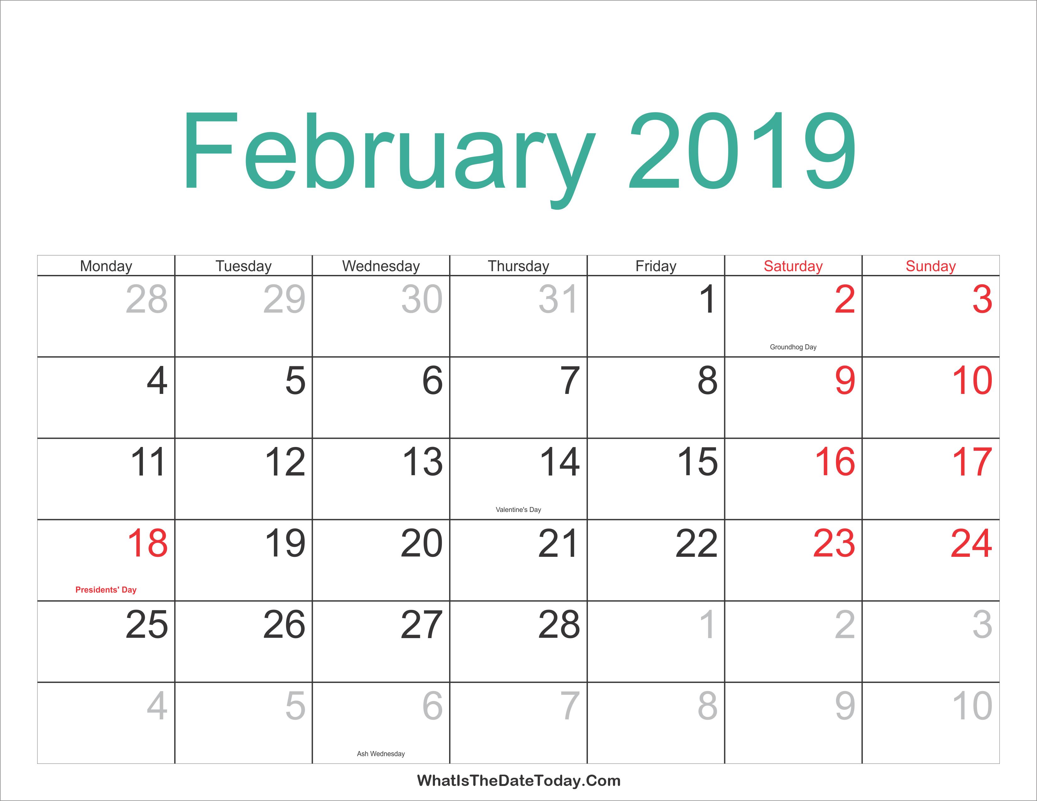 February Blank Calendar 2019