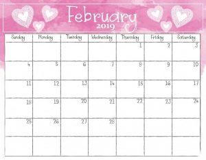 February Calendar 2019 Free Printable