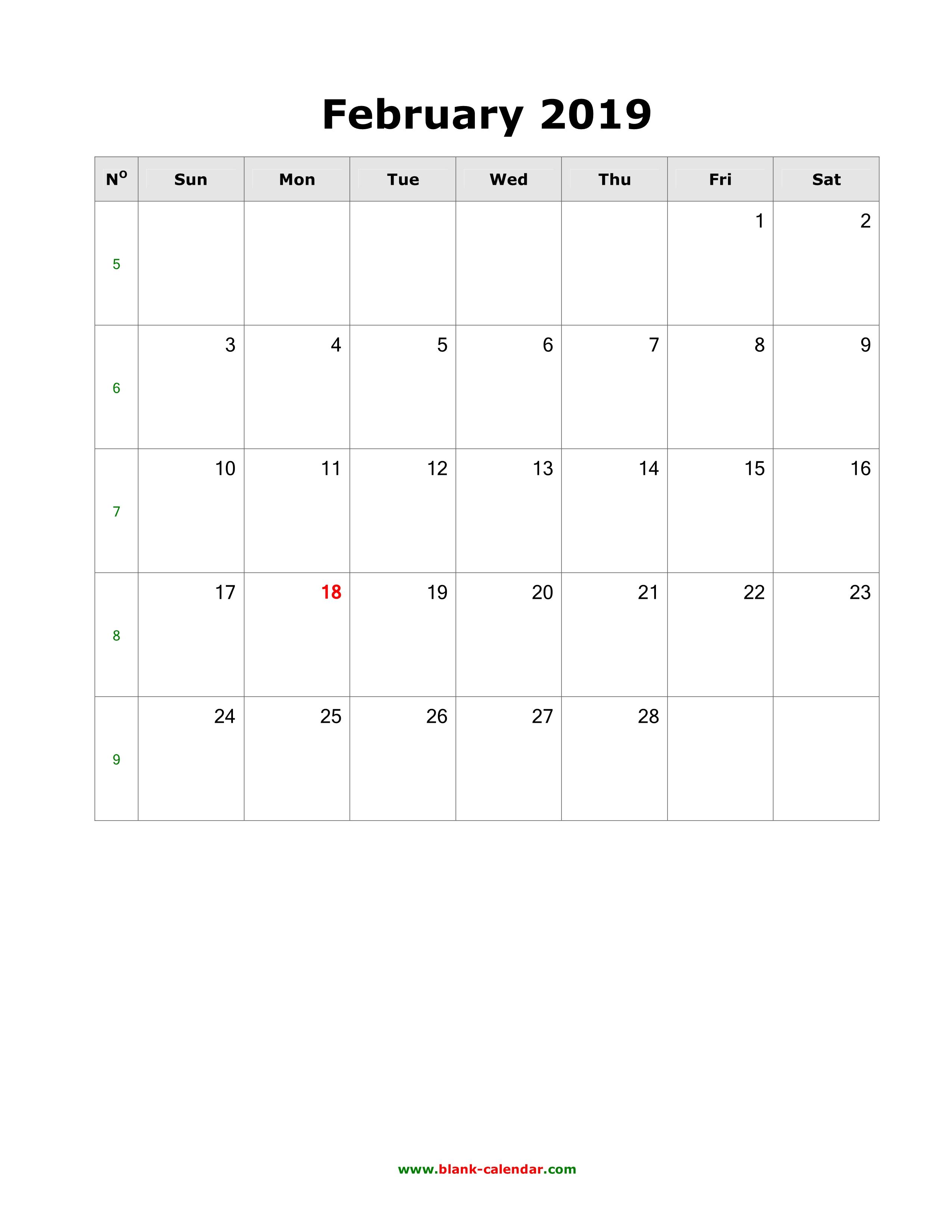 February Calendar 2019 To Do List