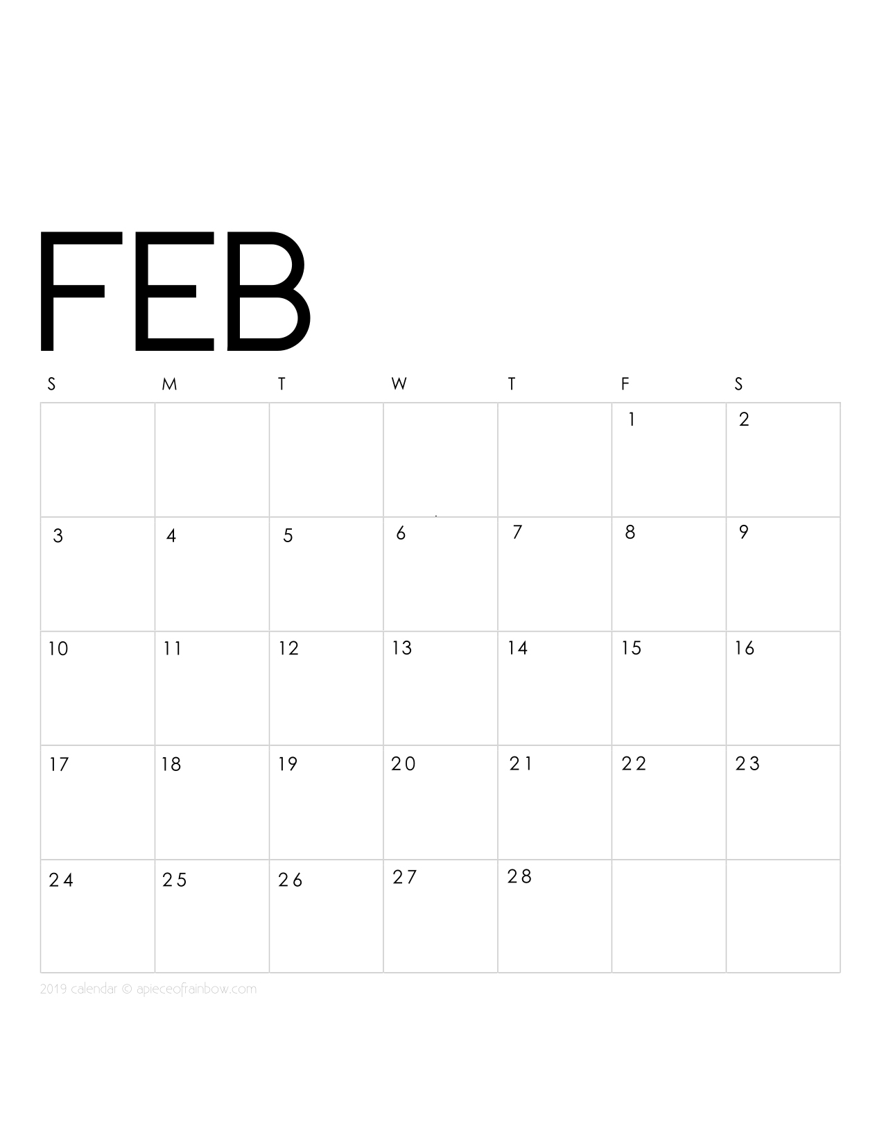 February Calendar 2019 with Notes