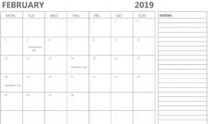 February Daily Calendar 2019 Weekly