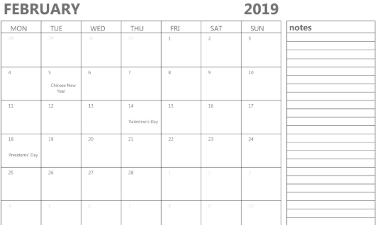 graphic relating to Printable Calendar Feb. called February Each day Calendar 2019 Weekly - Absolutely free Printable